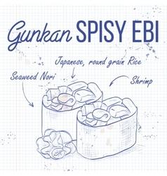 Gunkan spicy ebi vector