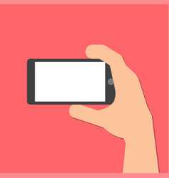 Hand holds a smart phone in horizontal position vector