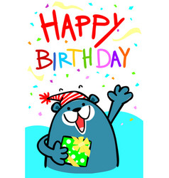 Happy birthday bear card vector