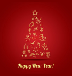 Happy new year greeting card with christmas vector