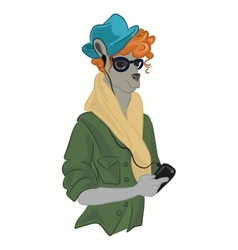 hipster kangaroo in cool fashion clothes vector image vector image