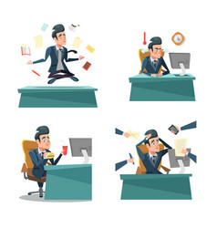 Multitasking businessman at work office life vector