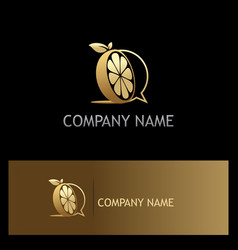 Orange fruit gold organic logo vector