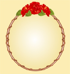 Round frame with red hibiscus greeting card vector