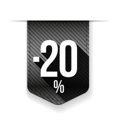 Sale twenty percent off banner grey ribon vector