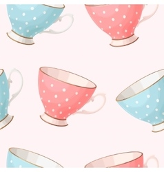 Seamless vintage teacups vector image vector image