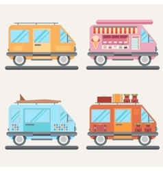 Set of tour buses for tourism ice cream vector