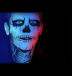 skeleton man makeup vector image