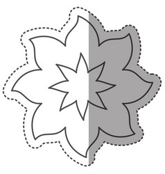 sticker monochrome contour with flower icon with vector image vector image