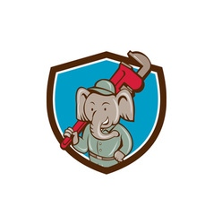 Elephant plumber monkey wrench crest cartoon vector