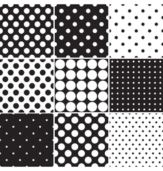 Black Polka Dot Seamless Patterns vector image