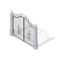 Iron gate opens and closes from middle isolated vector