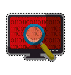Sticker color silhouette of lcd monitor and virus vector