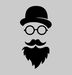 vintage silhouette of bowler mustaches glasses vector image