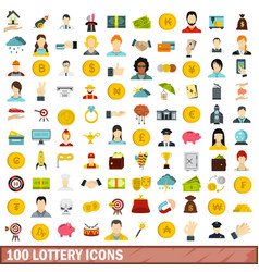 100 lottery icons set flat style vector