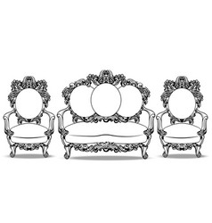 Baroque furniture with luxurious ornaments set vector