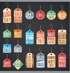 Price tags and sale labels with thread vector