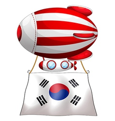A floating balloon with the korean flag vector