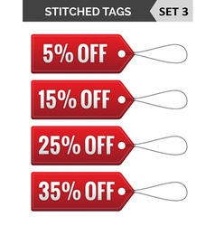 Stitched tags set 3 vector