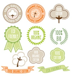 Organic cotton signs set vector