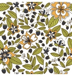 Floral seamless pattern with blackberries vector