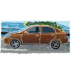 stylized sedan vector image