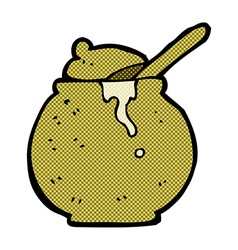 Comic cartoon honey pot vector