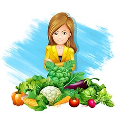 Woman and fresh vegetables vector