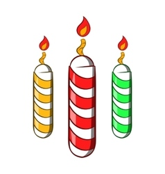 Festive candles icon cartoon style vector