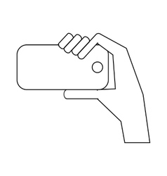Hand is photographed on phone icon outline style vector image