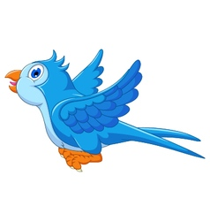 Cute blue bird cartoon flying vector