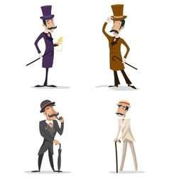 Business victorian gentleman meeting cartoon vector