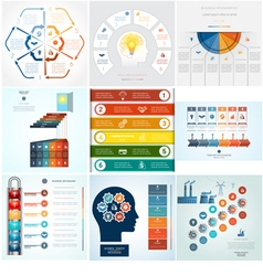 Set 9 templates infographic 6 positions vector