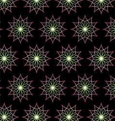 Abstract Pink Neon Flower Pattern on Black vector image