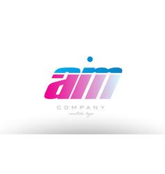 Am a m alphabet letter combination pink blue bold vector