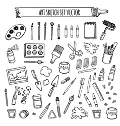 Art tools sketch hand drawn set desing vector image