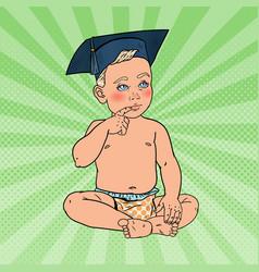 Baby boy in bachelor hat pop art vector