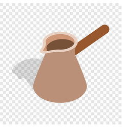 Brown coffee cezve isometric icon vector