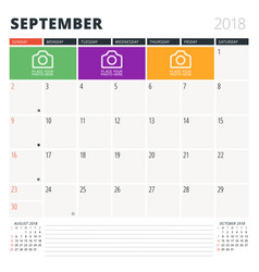 calendar planner for september 2018 design vector image