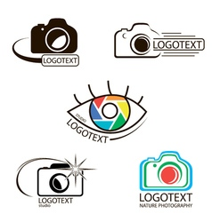 collection of photography logo templates vector image vector image