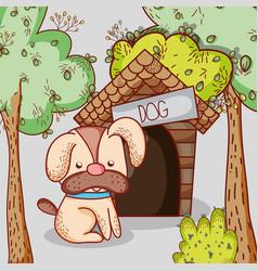 Dog on house doodle cartoon vector