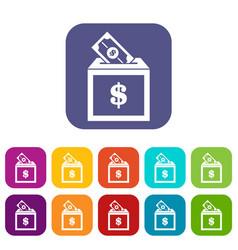 Donation box icons set vector