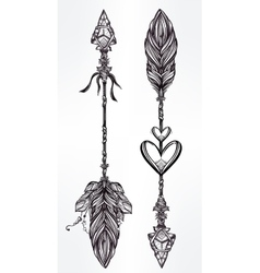 Ethnic boho decorative arrows set in tattoo style vector image vector image