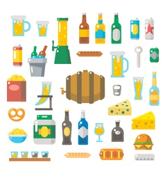 Flat design of beer items set vector