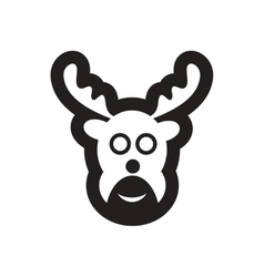 Flat icon in black and white christmas deer vector