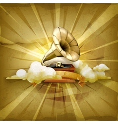 Gramophone old style background vector image vector image