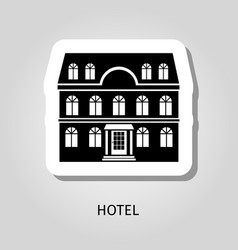 hotel black building sticker vector image