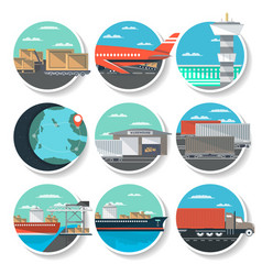 Logistics and worldwide shipping round badge set vector
