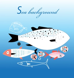 Marine fish background vector