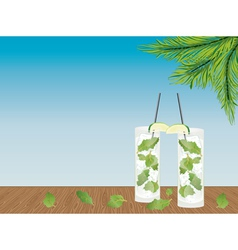 Mojito cocktail on the table vector